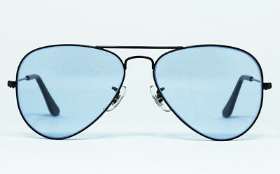 82aff5d90 Nos Vintage Sunglasses Rayban Large Metal Aviator Black Frame Light Blue Bl  Usa