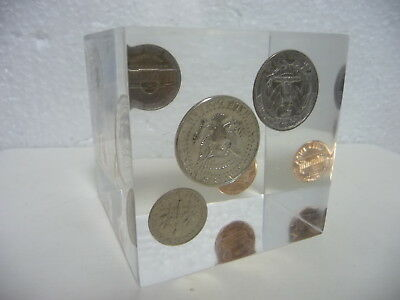 American Coins Paperweight Dollar Quarter Cent Dime Collectable