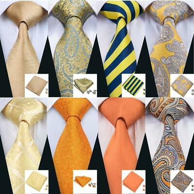 UK Mens Tie Necktie Silk Gold Yellow Blue Orange Solid Paisley Striped Ties