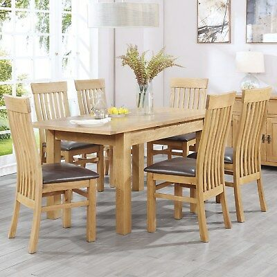 Extendable Solid Oak Dining Table and 6 Chairs - Rustic Saxon R BUN/SAX019/69963