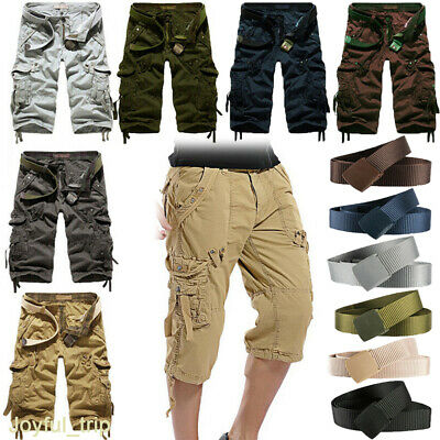 Casual Mens Cotton Summer Army Combat Camo Work Cargo Shorts Pants Trousers 3/4