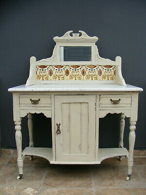 Antique solid pine marble top washstand with tile and mirrored back