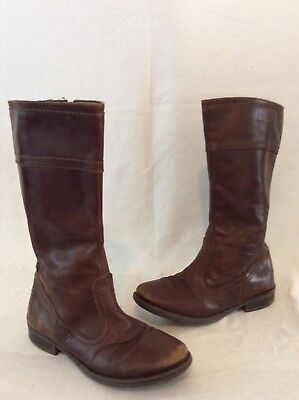 Girls Primigi Brown Leather Boots Size 31