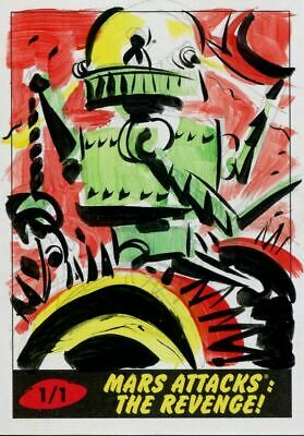 Mars Attacks The Revenge Sketch Card By Lowell Isaac