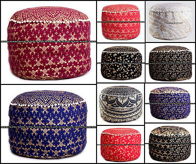 Wholesale Lot of 10Pc Indian Mandala Die Gold Puf Cover Cotton Ottoman Footstool