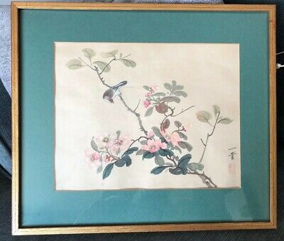 Vintage Framed & Mounted Chinese Silk Painting. Bird With Blossom. Shabby Chic