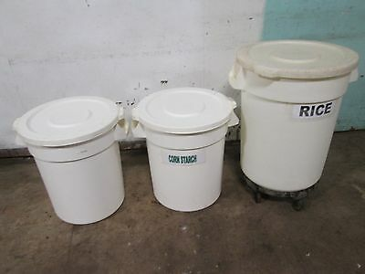 """Lot Of (3) """"Rubbermaid/Continental"""" H.d. Commercial (Nsf) Ingredient Poly Bins"""