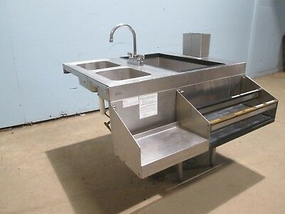 """GLAS TENDER"" BARTENDER STATION w/10 LINES COLD PLATE ICE BIN, SPEED RAIL & SINK"