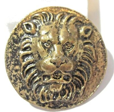 Fierce Round Raised Design Darkened Bronze Tone Plated Metal Lion Belt Buckle