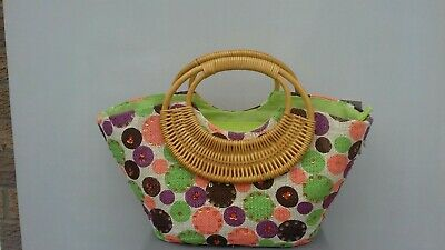 Pilot wicker style Bag bnwt multi colour sequin trim bamboo handles holiday