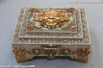 Old Silver & Copper Gold Gilt inlay Turquoise Coral Gem Garuda Case Jewelry Box