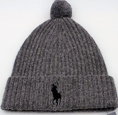 Polo Ralph Lauren Men's Big Pony Cuffed Pom Pom Skull Cap Beanie Hat Gray NEW