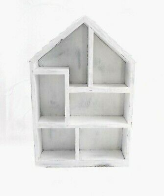 House Shaped Wood Wall Shelf Hand Painted Weathered Farmhouse Rustic Cottage