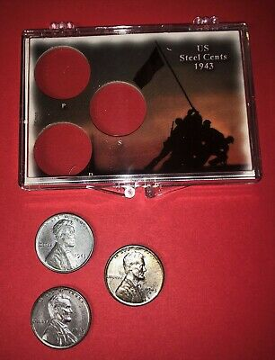 """1943 PDS   """"STEEL""""  LINCOLN CENTs - COMPLETE SET IN BEAUTIFUL PLASTIC HOLDER !"""