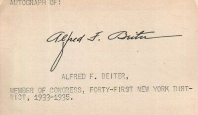 Alfred Beiter Autographed Card Former New York Politician 1933-1943 D.74