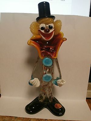 Vintage Murano Multi Color Glass Clown With Yellow Hair,White Hands 8-3/4 Tall