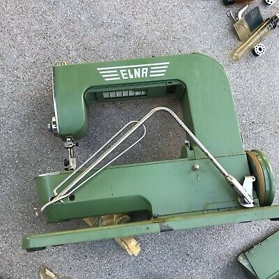 Vintage ELNA Sewing Machine (Green) w/ Metal Case
