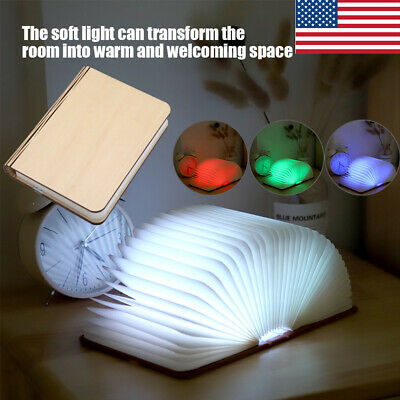 USB Rechargeable LED Wooden Book Shape Desk Lamp Night Light Booklight Portable