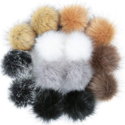 14PCS DIY Faux Fur Fluffy Pompom Ball for Hats Shoes Scarves Keychains Bag Charm