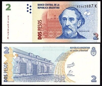 Argentina 2 Pesos Nd 2012 Unc Banknote World Paper Money (P-352)