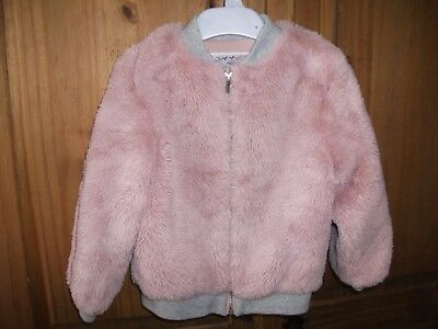 Mothercare Girls Dusty Pink Faux Fur Jacket with Grey Trim Age 2-3 y/o