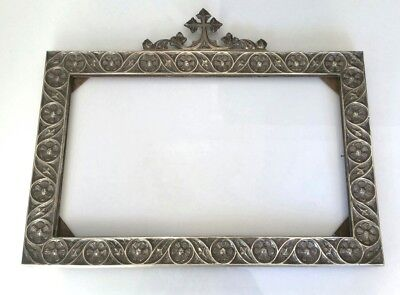 Old Religious Frame In Brass Bathed In Silver - Sealed, Dedicated 1916