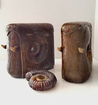 Rare Sculpture - Mammoth - Elephants With Ammonite  Inside - Sealed And Numbered