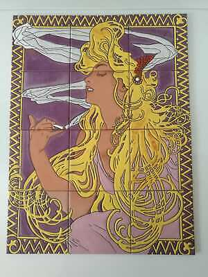 Mosaic tiles with Art Nouveau image from Alphonse Mucha