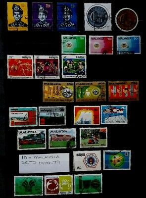 10 x Complete Malaysia Stamp Sets - 1970 to 1979