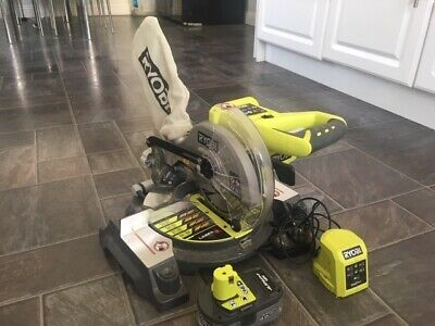 RYOBI EMS 190 DCL 18V MITRE SAW 1 x CHARGER 1 x 4.0AH LITHIUM BATTERY