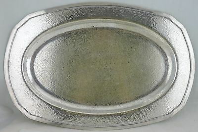 Vintage Nickel Silver Plated Hand Hammered Serving Tray Usa Made