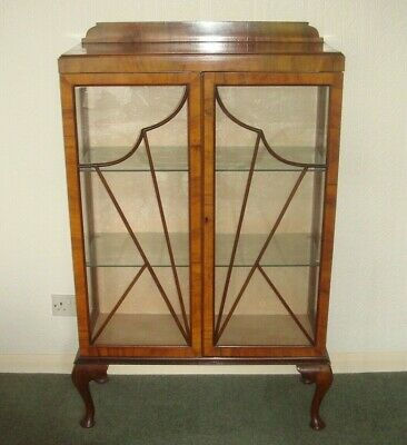Antique Flame Mahogany 2 Door Glass Display Cabinet