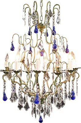 Large Maria Theresa Style 12-Arm Chandelier  Blue Murano Glass Pear Pen