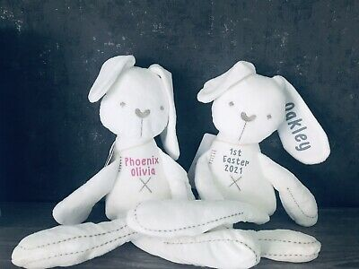 PERSONALISED Cute Rabbit Baby Soft Plush Toy Bunny Sleeping *SAME DAY DESPATCH*