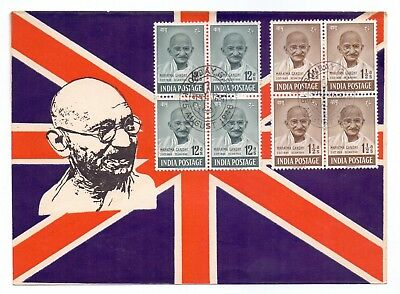 INDIA 1948 GANDHI 2 Value Private Fdc On British Flag Cover