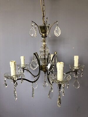 Beautiful Antique French Chandelier 5 Arms Brass And Glass Crystals
