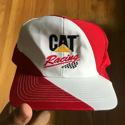 1a3a04eb6 Cat Racing Vintage Snapback Hat Cap Red White Swirl Nascar Caterpillar Inc.