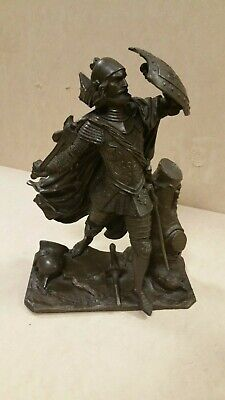 Maurice Constant Farve SOLID BRONZE MEDIEVAL KNIGHT STATUE