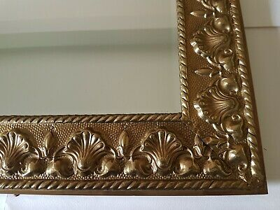 Beautiful retro bevel edge mirror bright brass scallop shell frame hanging frame