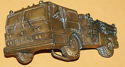 Vintage Belt Buckle Firetruck Indiana Metal Craft 1979
