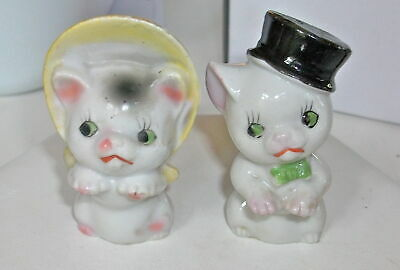 KITTY CAT VINTAGE Salt & Pepper Shakers Top Hat Bonnet @1960'S Japan cute
