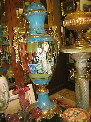 Pair of French Antique Sevres Style Turquoise Porcelain Vases Ormolu Mounted 54""