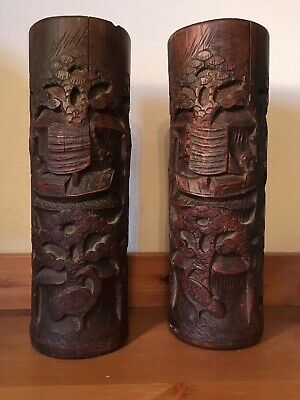 Large  Pair 19th Century Hand Carved Chinese Bamboo Brush Pot Boat & Bird