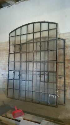 Huge  Vintage Cast Iron Arched Industrial Metal Window  25  Pane