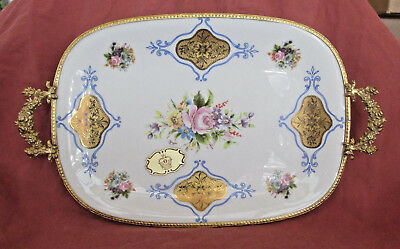 Pint A La Main Limoges Porcelain Hand Painted Serving Tray with Gold Handles