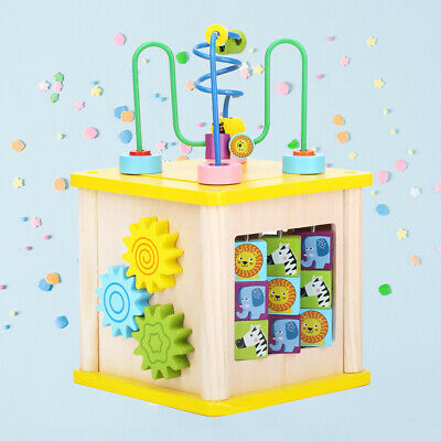 1pc Bead Maze Activity Cube Educational Funny Multifunction Wooden Toys for Kids