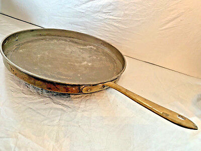 Extra Large 13 Inch Vintage Italian Crepe Pan Copper with Brass Handle Italy