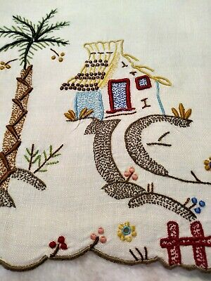 """1 Amazing Colorful Madeira Island Theme Embroidered 16"""" x 10.5"""" Linen Placemat"""