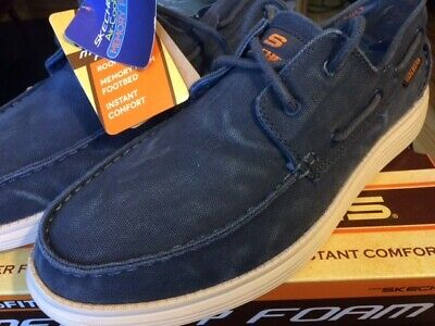 695b6d74c82c New Mens Skechers Relaxed Fit Status Melec Boat Shoe Style 64644 Navy Size  9.5