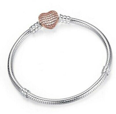 Silver Snake Chain Bracelet with HEART CLASP Charm Snake HOT